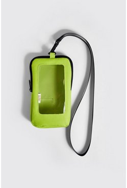 Mens Neon-yellow Perspex Window Mini Cross Body Bag
