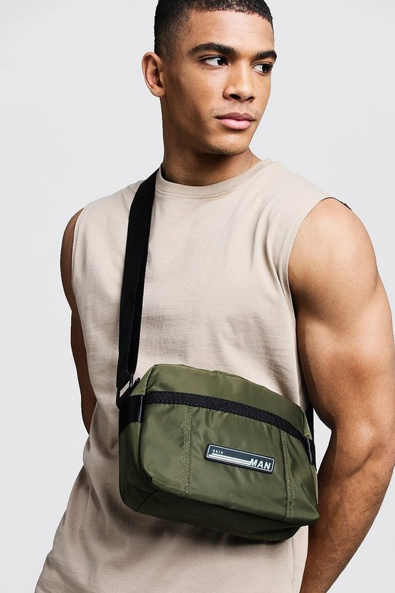 Mens Khaki Sporty Patch Cross Body Bag