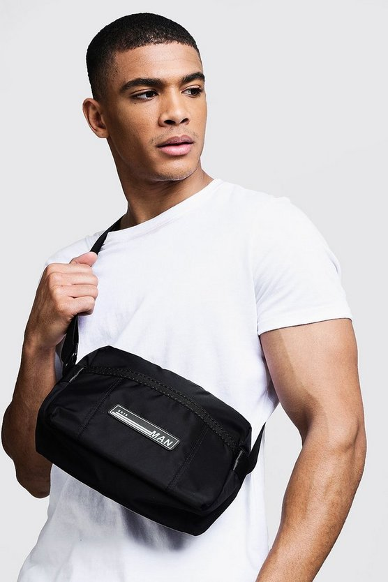 Mens Black Sporty Patch Cross Body Bag