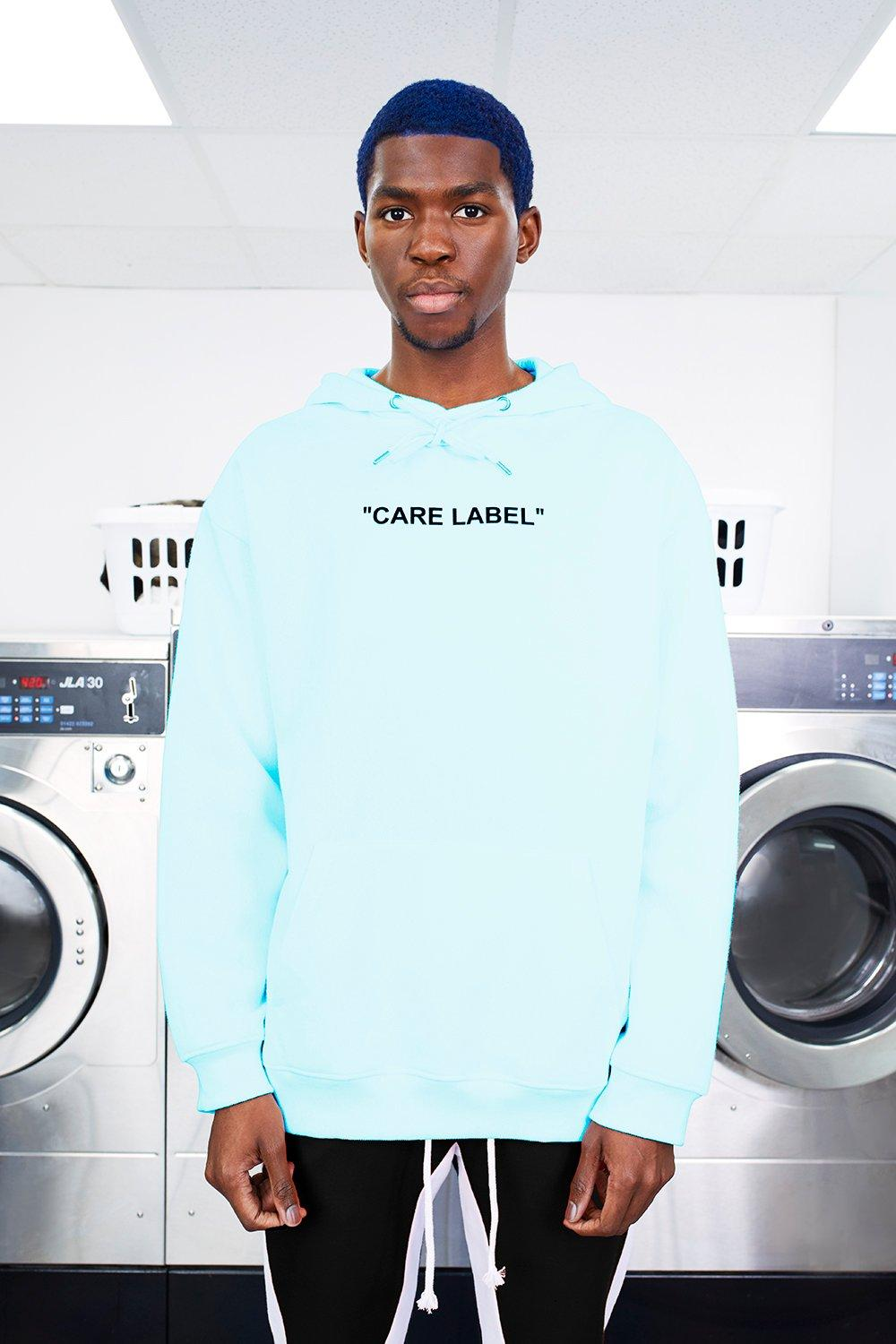 MAN Care Label Oversized Back Print Hoodie