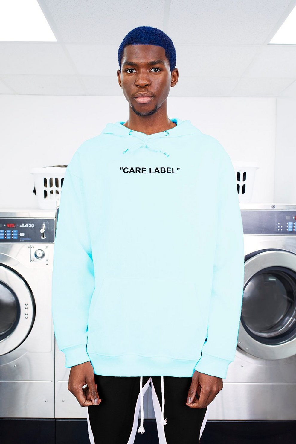0c0ad1df2 Mens Aqua MAN Care Label Oversized Back Print Hoodie