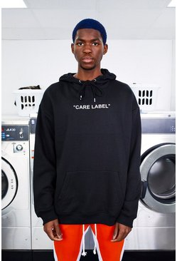 Mens Black MAN Care Label Oversized Back Print Hoodie