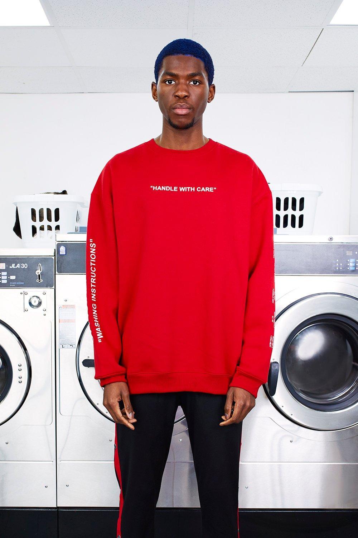 MAN Care Label Oversized Sleeve Print Sweater