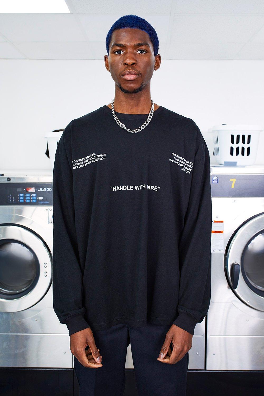 Oversized MAN Care Label Back Print Long Sleeve T-Shirt