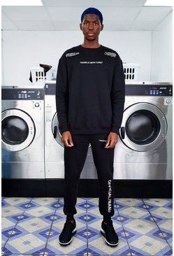 Mens Black MAN Care Label Print Sweater Tracksuit