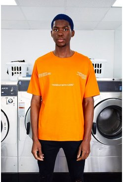 Mens Orange MAN Care Label Front & Back Print T-Shirt