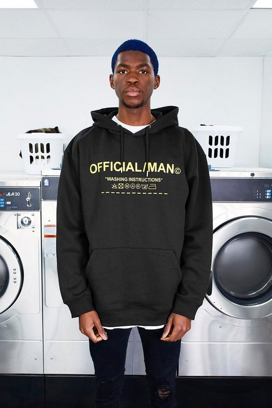 Mens Black MAN Care Label Oversized Hoodie With Hood Print