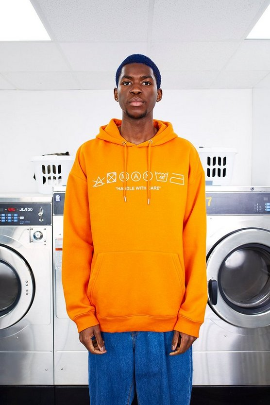 Mens MAN Care Label Oversized Orange Hoodie