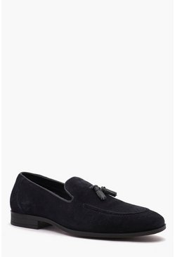 Mens Navy Real Suede Tassel Detail Loafer