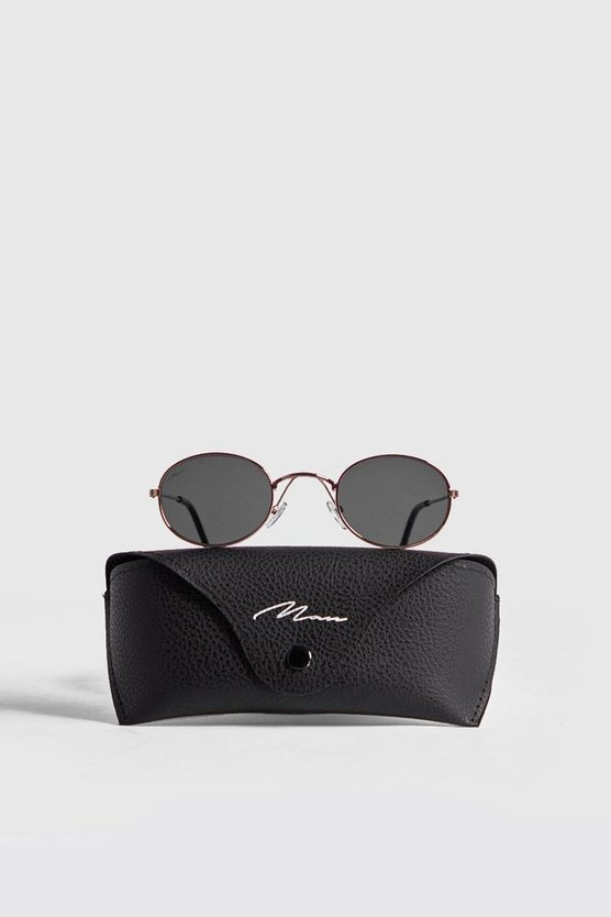 MAN Branded Oval Sunglasses With Case
