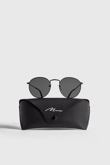 Black MAN Branded Round Sunglasses With Case