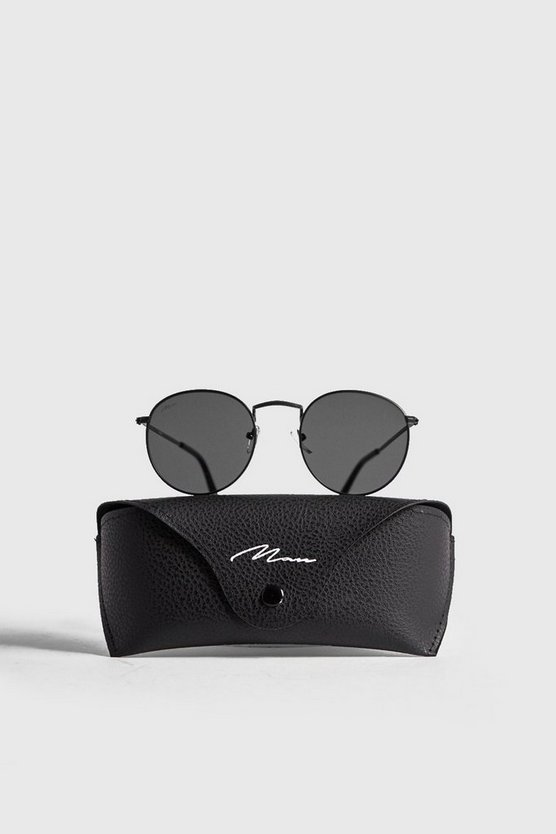 MAN Branded Round Sunglasses With Case