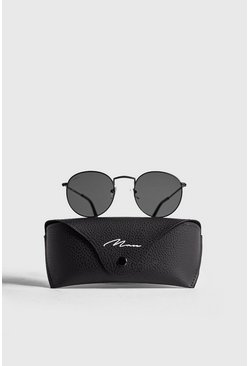 Mens Black MAN Branded Round Sunglasses With Case