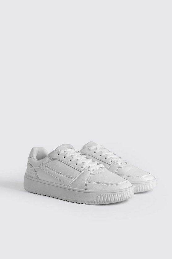 White Embossed Sporty Faux Leather Trainer