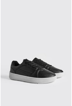 Mens Black Embossed Sporty Faux Leather Trainer