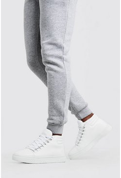Mens White Eyelet Detail High Top In Faux Leather