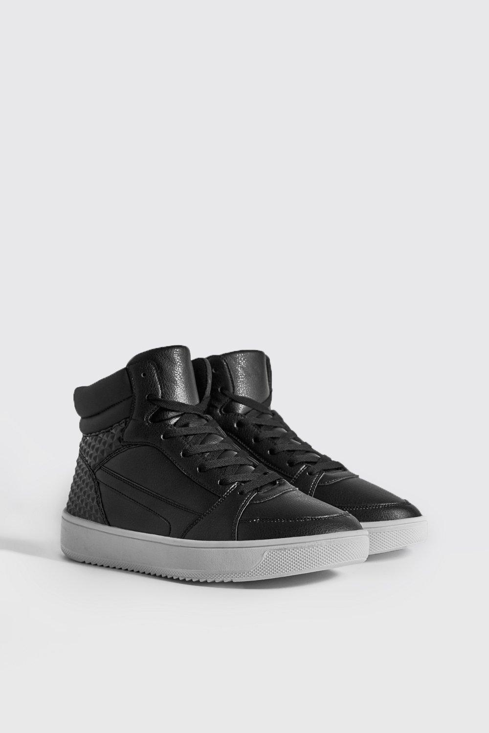 Embossed Sporty Faux Leather High Top