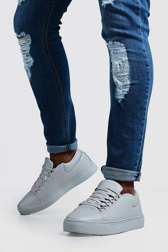 Mens Grey Eyelet Detail Faux Leather Trainer