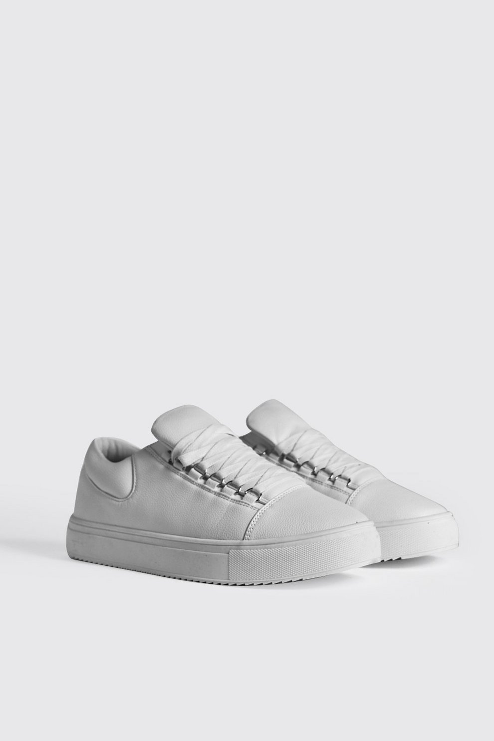 f7bff3d99bd3 Eyelet Detail Faux Leather Trainer | Boohoo