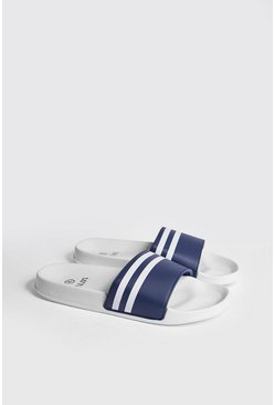 Mens Navy Double Stripe Slider