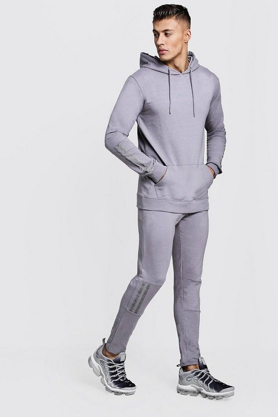 Mens Ash Muscle Fit OTH Hooded Tape Detail Tracksuit