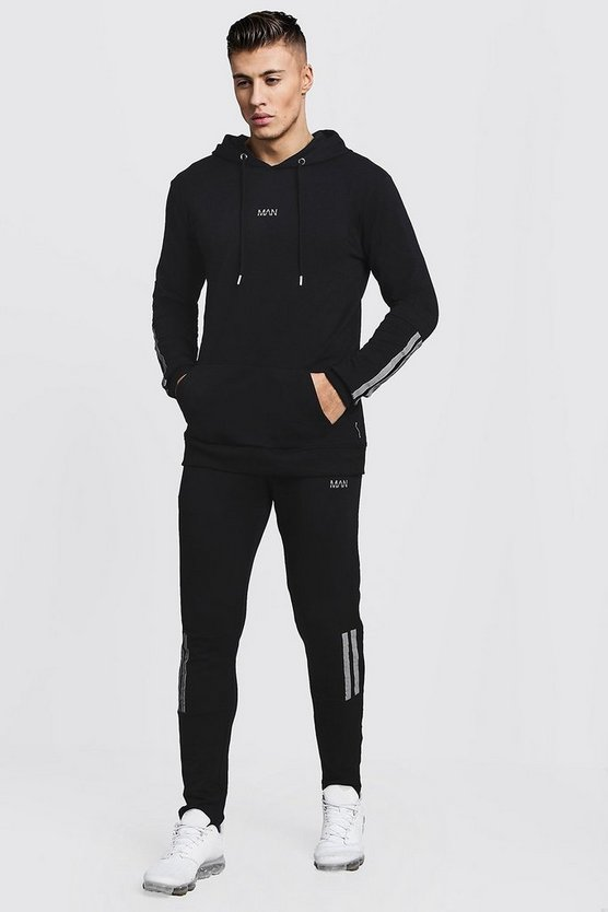 Mens Muscle Fit OTH Hooded Tape Detail Tracksuit