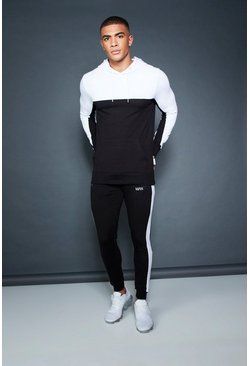 Mens Muscle Fit Hooded Colour Block Tracksuit