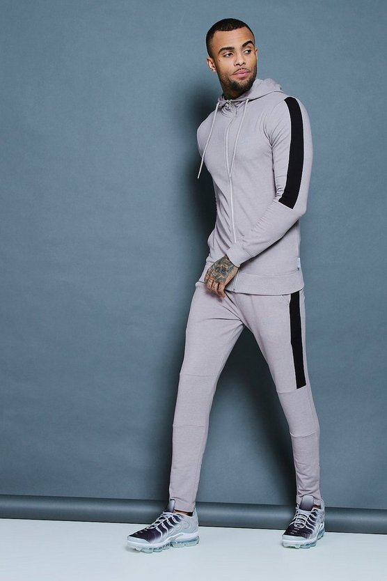 Muscle Fit Zip Through Hooded Tracksuit