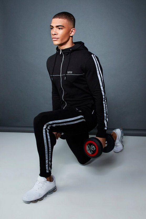 Mens Black Muscle Fit Zip Through Hooded Tracksuit