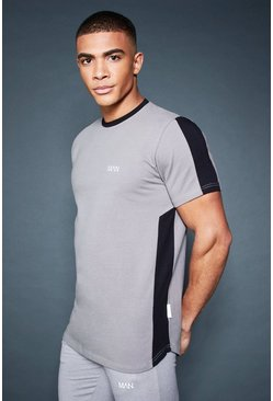 Mens Ash Longline T-Shirt With Contrast Side Panel