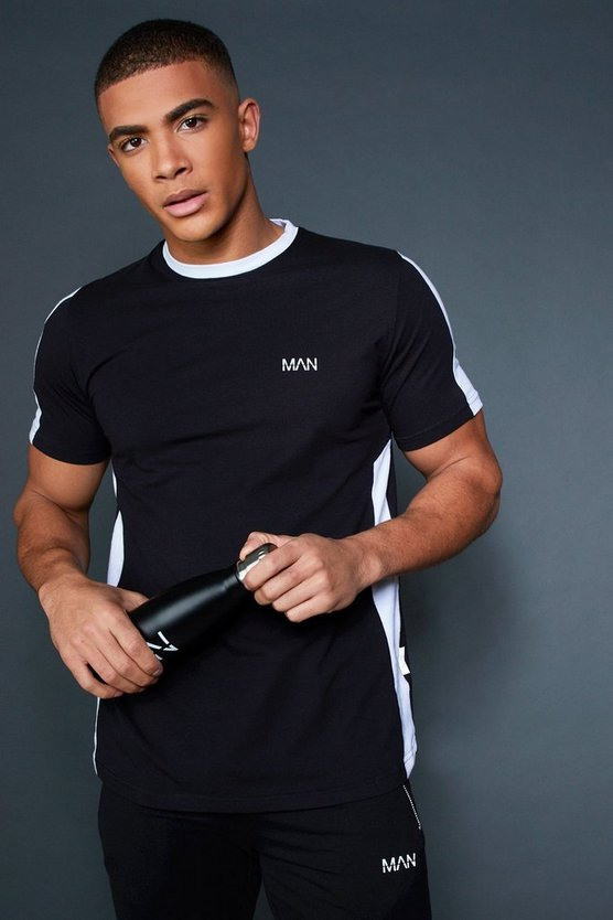 Mens Black Longline T-Shirt With Contrast Side Panel