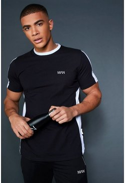 Longline T-Shirt With Contrast Side Panel, Black, HERREN