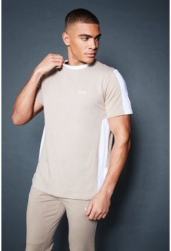Mens Taupe Longline T-Shirt With Contrast Side Panel