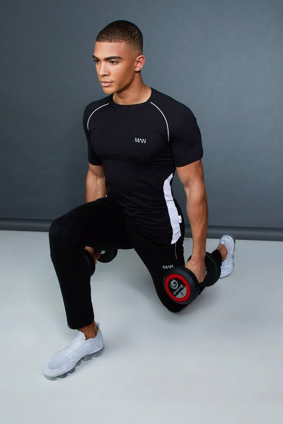 Mens Black Muscle Fit Raglan T-Shirt With Piping