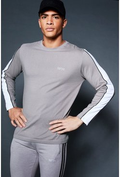 Mens Ash Long Sleeve T-Shirt With Sleeve Tape