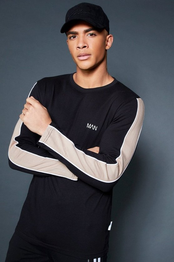 Mens Black Long Sleeve T-Shirt With Sleeve Tape
