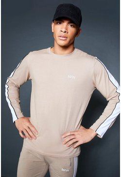 Mens Taupe Long Sleeve T-Shirt With Sleeve Tape