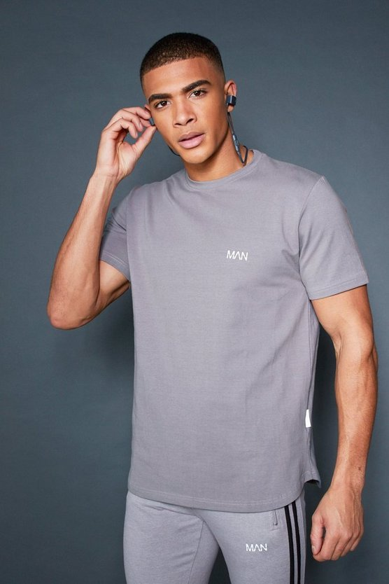 Mens Ash Curved Hem T-Shirt With Contrast Back Tape