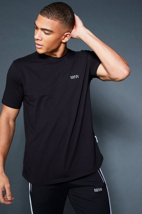 Black Curved Hem T-Shirt With Contrast Back Tape