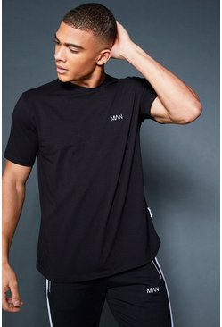 Mens Black Curved Hem T-Shirt With Contrast Back Tape