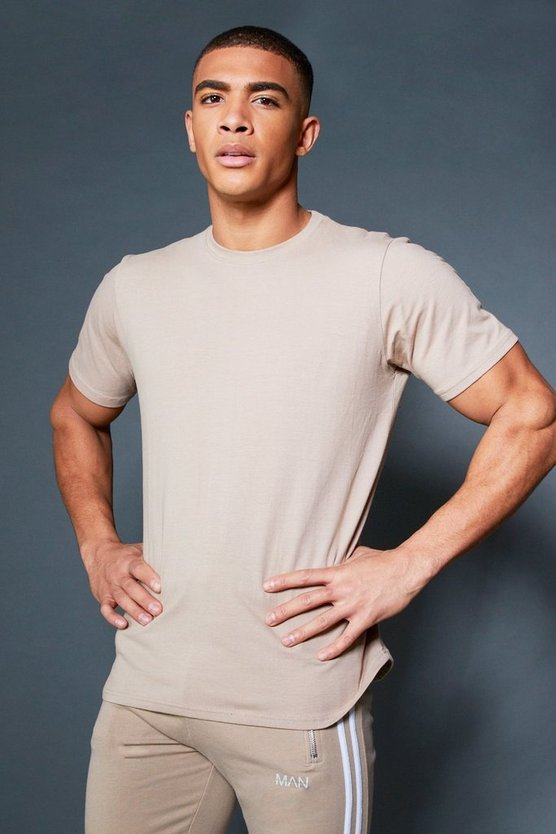 Mens Taupe Curved Hem T-Shirt With Contrast Back Tape