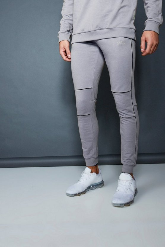 Ash Muscle Fit Jogger With Piping Detail