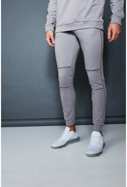 Mens Ash Muscle Fit Jogger With Piping Detail