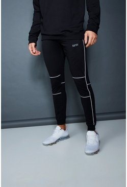 Mens Black Muscle Fit Jogger With Piping Detail