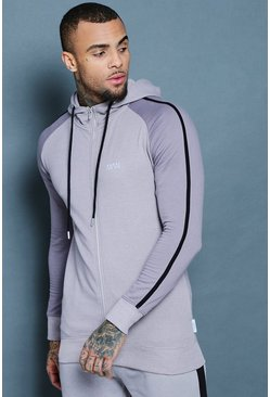Mens Ash Zip Through Hoodie With Contrast Sleeve