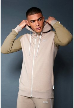 Mens Taupe Zip Through Hoodie With Contrast Sleeve