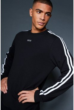 Mens Black Crew Sweater With Sleeve Sports Tape