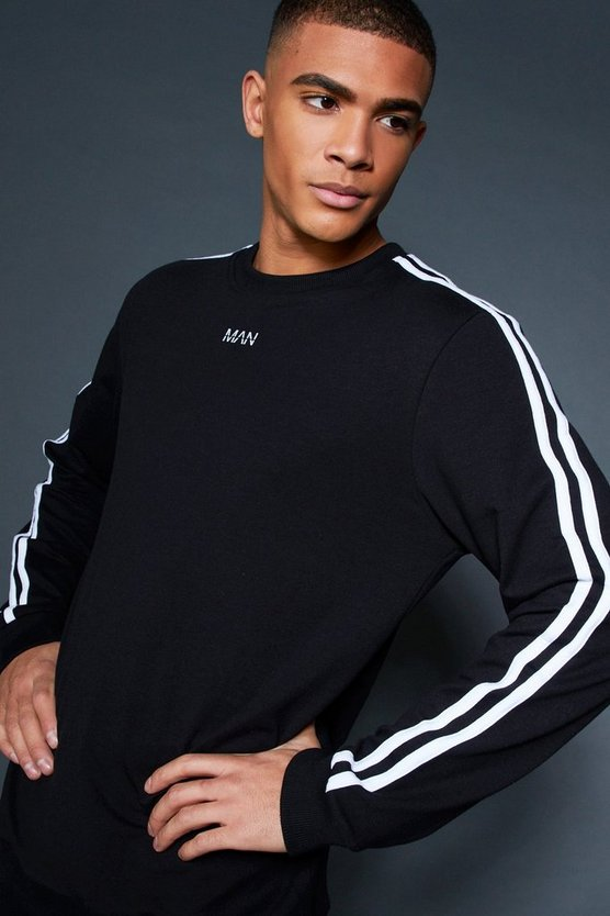 Crew Sweater With Sleeve Sports Tape, HOMMES