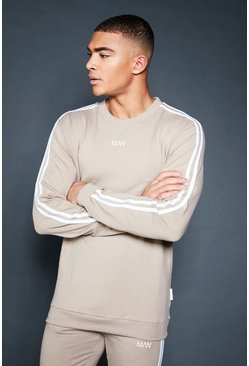 Crew Sweater With Sleeve Sports Tape, Taupe, HERREN