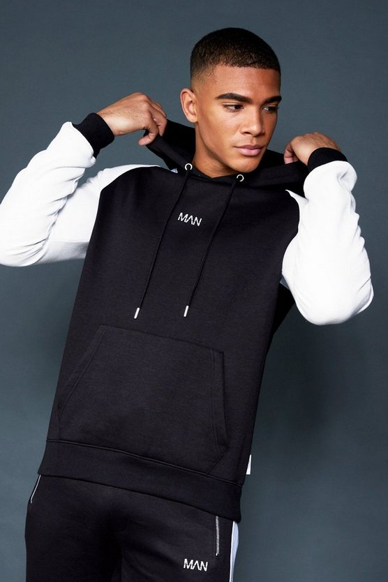 Mens Black Contrast Raglan Fleece MAN Hoodie